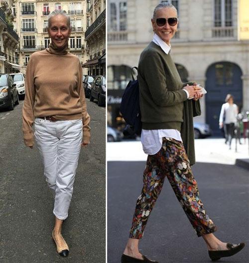 Образ для осени 2017: белые брюки - бежевый свитер, брюки с принтом - белая рубашка + однотонный пуловер