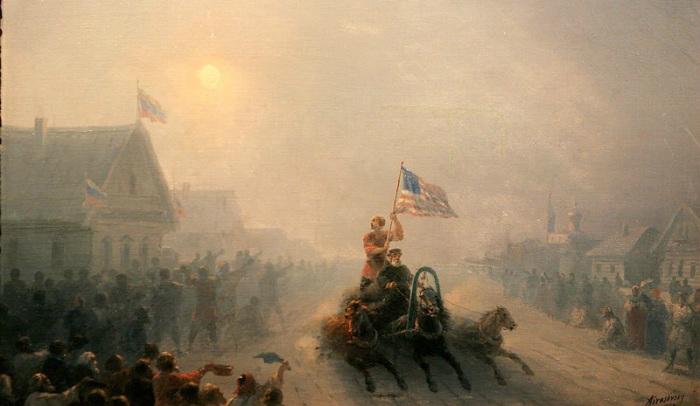 Запрещенная картина Айвазовского: художник нарисовал повозку с американским флагом в русской деревне Культура