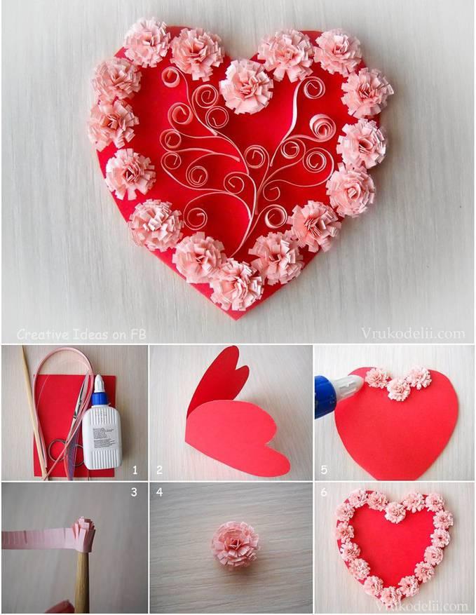 Как делать открытка форме сердца