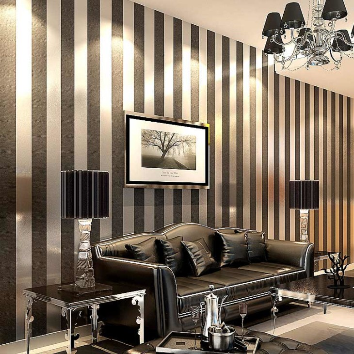 Elegant modern living room with striped wallpaper