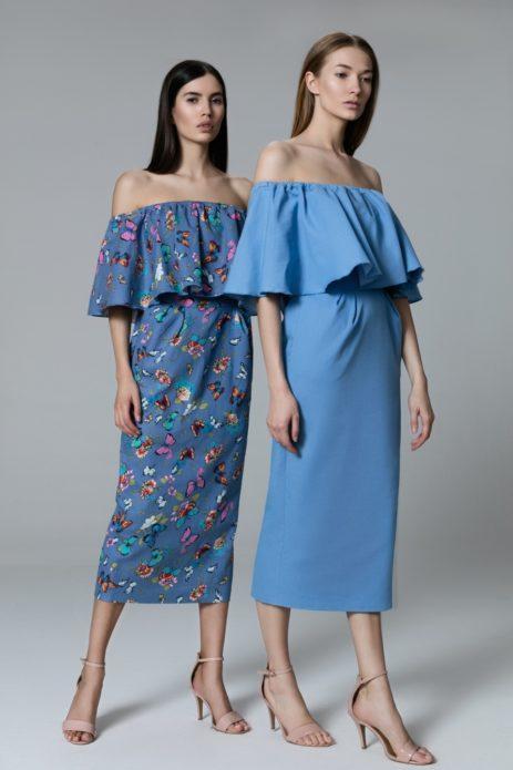 Платья миди с открытыми плечами