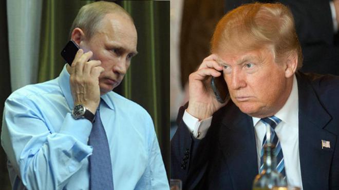 Трамп и Путин в телефонном р…