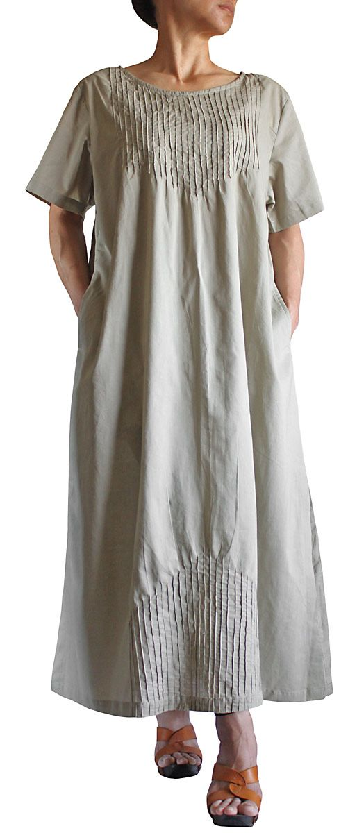 Fascinating mirror-image pintucks, top and bottom, on this simple dress from sawan ; DCG-017-03: