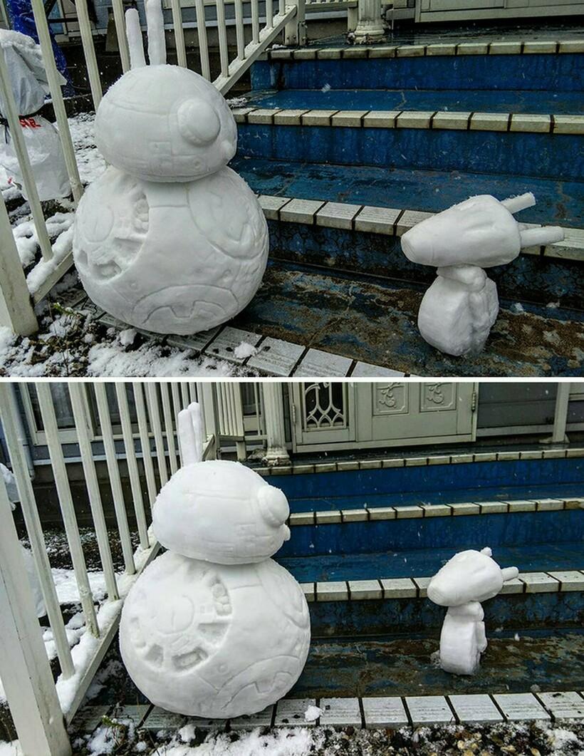 Очаровательные снежные фигуры на японских улицах снежные скульптуры,творчество,Япония