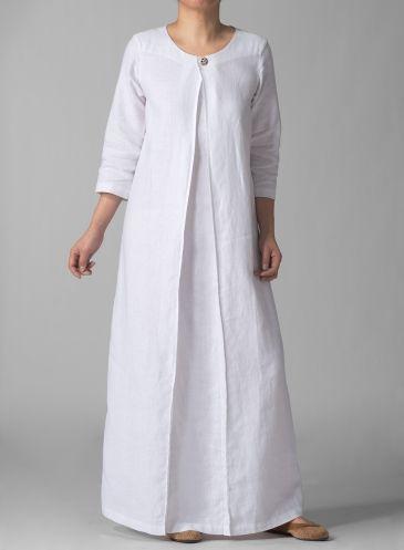 3/4 Sleeve Linen Long White Dress: