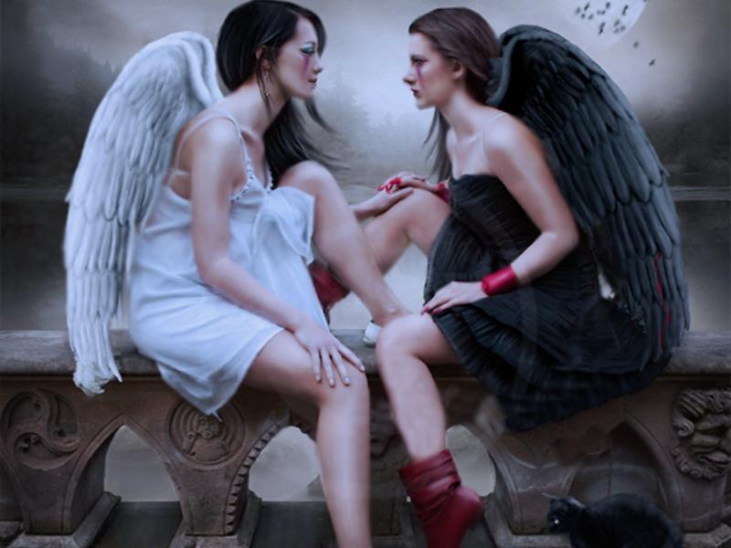 Утро вторника, открытки ангел и демон