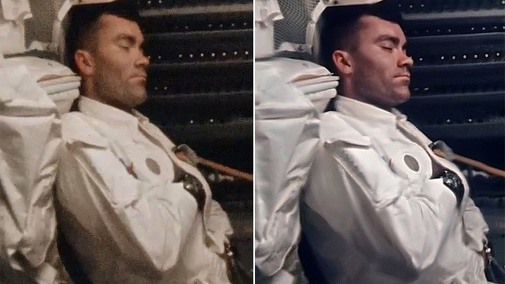 Фред Хейз задремал. Слева — один из кадров кинопленки. Справа — изображение, созданное методом наложения нескольких оригинальных кадров | Источник: NASA/ANDY SAUNDERS