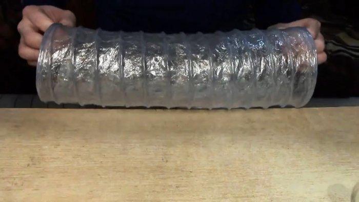 Как сделать гофрированный рукав из ПЭТ бутылок и пищевой пленки