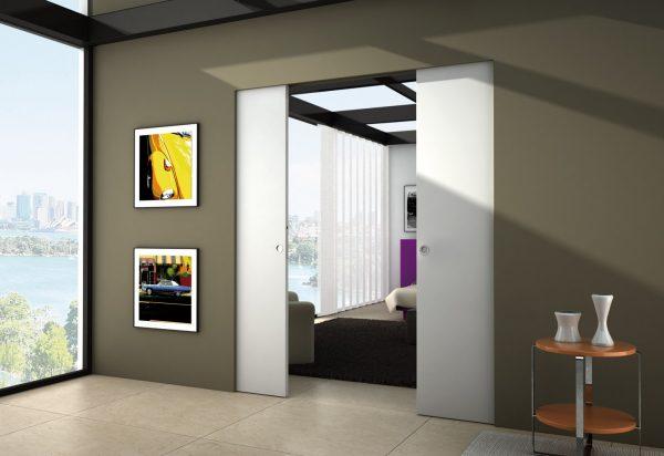 Как сделать раздвижные двери скрытые в стене