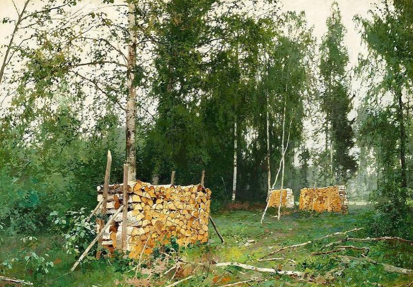 """""""Весенний лес. березовые бревна"""", холст, масло"""