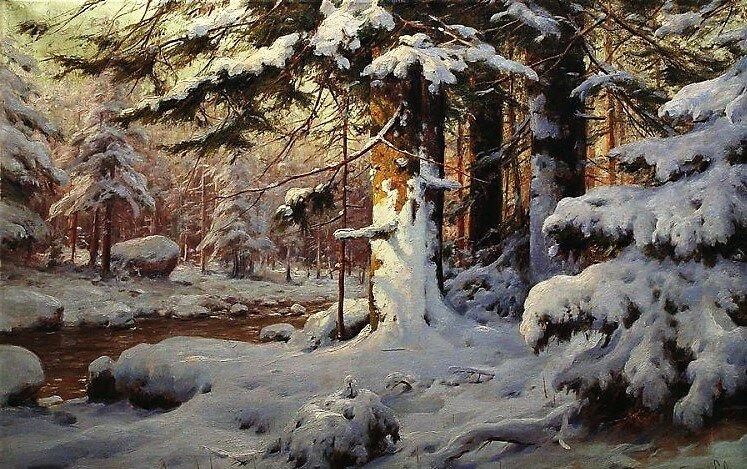 """""""зимний лес"""", 1919, холст, масло"""