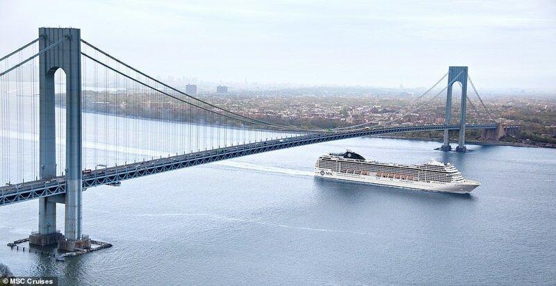 17. Висячий нью-йоркский мост Верразано и 12-палубная громадина - MSC Orchestra красиво, красивые места, круиз, круизы, мир, паром, путешествия, фото