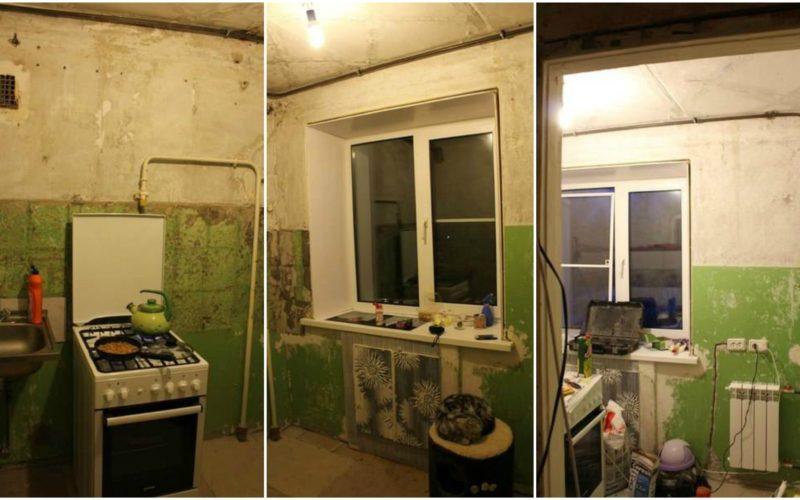 Муж сам отремонтировал кухню…