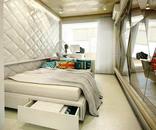 дизайн узкой спальни кровать с ящиком