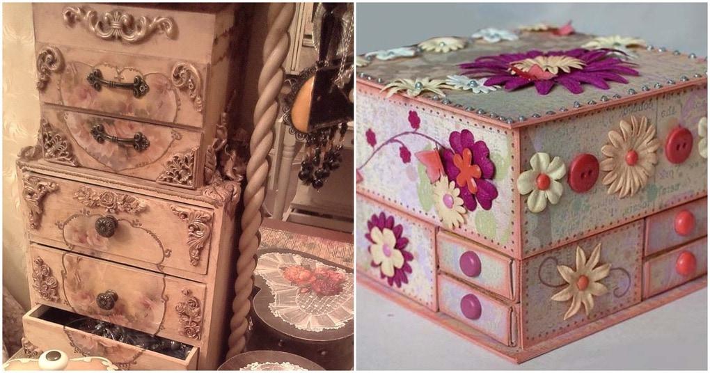 Стильные шкатулки и органайзеры из ненужных коробок