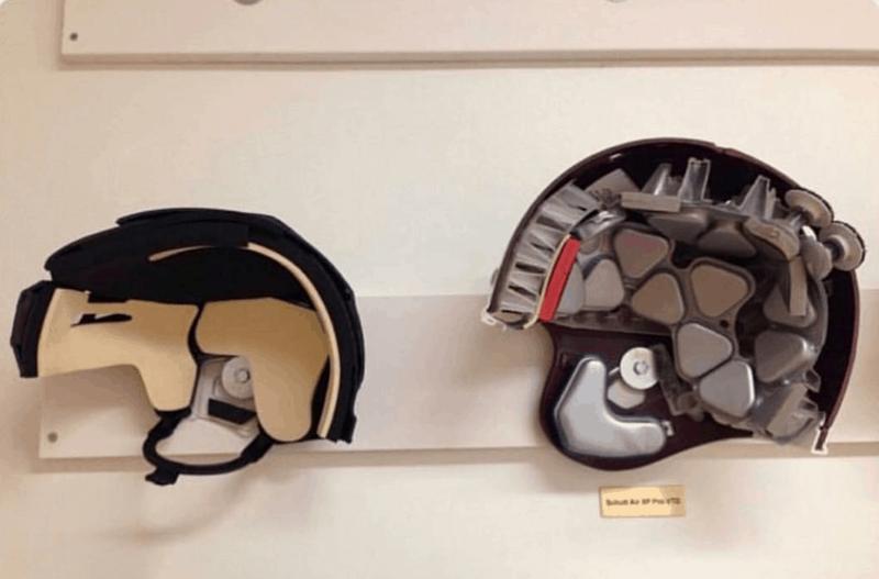 12. Шлем для хоккея и шлем для американского футбола вещи, внутри, изнутри, подборка, разрез, фото