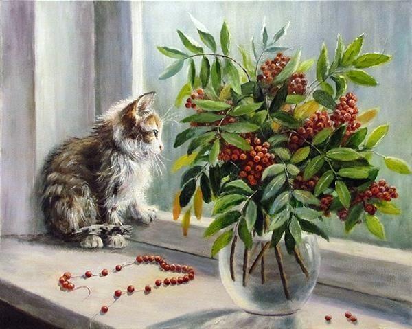 На окошко села кошка... Художница Ольга Воробьева