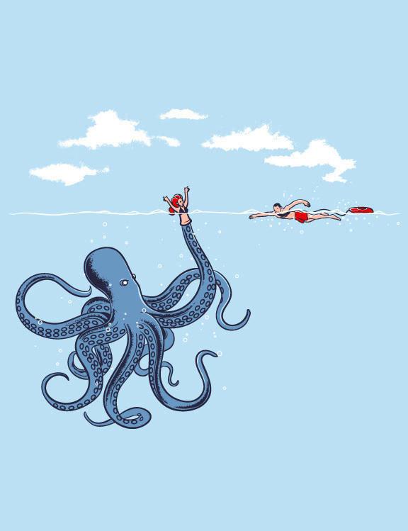 Дети, картинка смешного осьминога