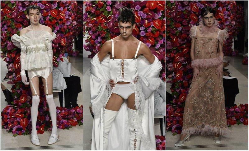 Мужчины на подиуме в женском белье