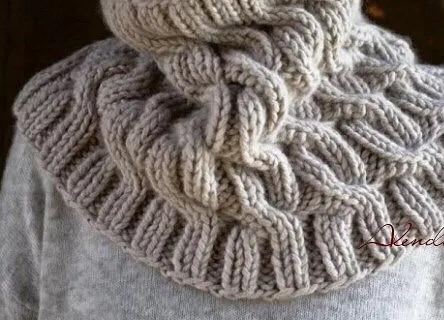 Теплый снуд со жгутами вязание спицами,Одежда,снуд