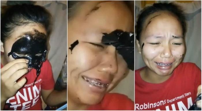 Девушка сняла маску для лица…