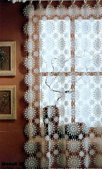 Идеи вязаных занавесок для кухни вязание,интерьер