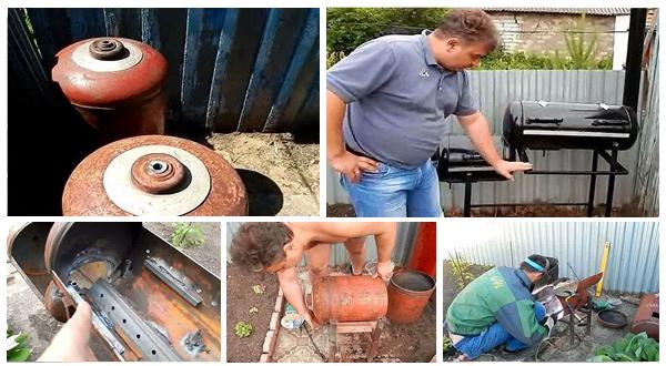 Мангал-коптильня из газовых баллонов своими руками