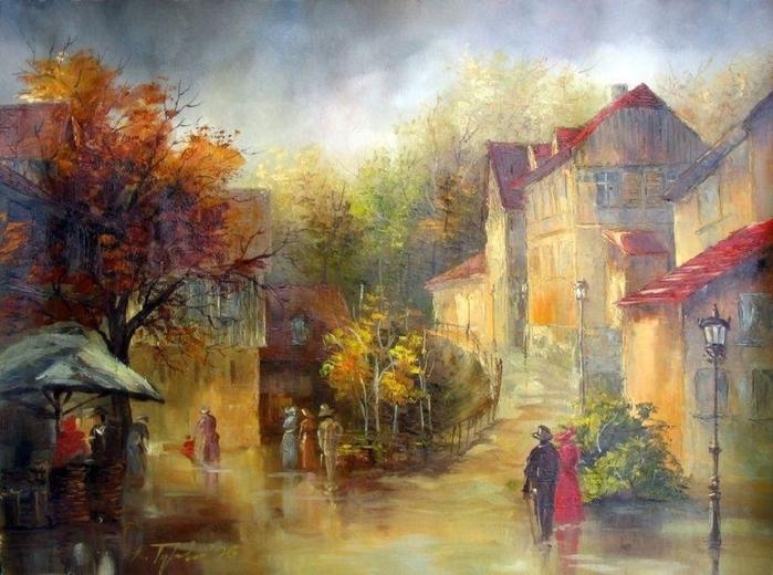 Старые улочки шумного города. Польский художник Ryszard Tyszkiewicz