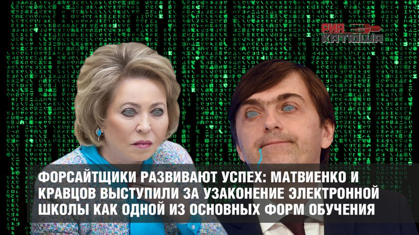 Форсайтщики развивают успех: Матвиенко и Кравцов выступили за узаконение электронной школы как одной из основных форм обучения россия