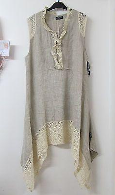 Sarah Santos Lagenlook Beige Linen Lace Tunic Summer Dress Layered Oversized New | eBay: