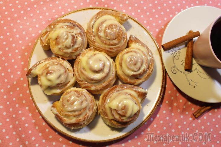 Домашние синнабоны - булочки с корицей и глазурью