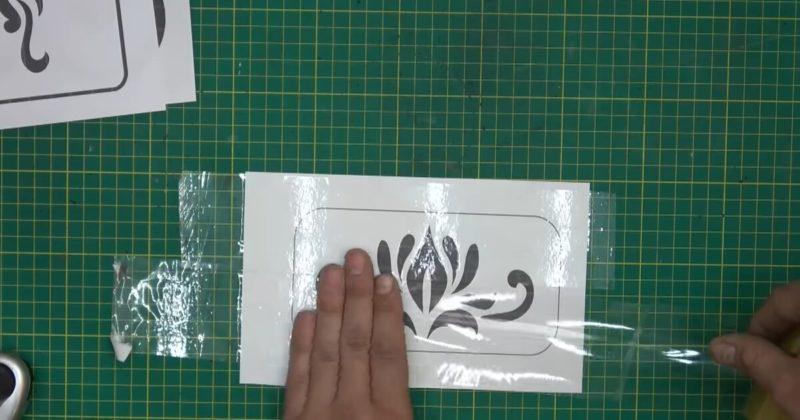 Скотч + распечатанный трафарет на бумаге: необычная идея для декора