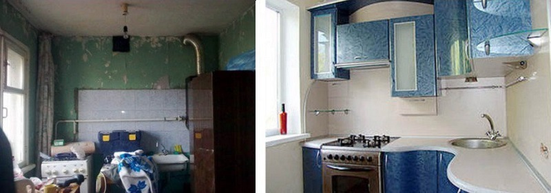 кухня до и после ремонта