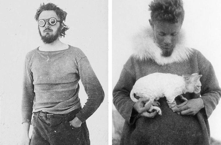 Кроуфорд (слева), Галле с кошкой Викторией (справа) Ада Блэкджек, арктика, интересно, история, познавательно, факты