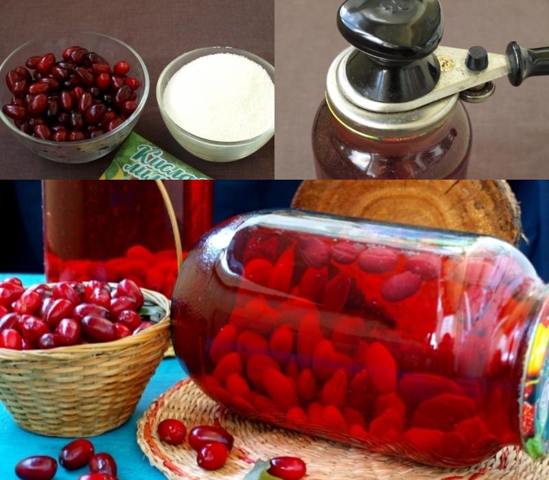 Компот из кизила на зиму заготовки,консервируем,кулинария,напитки,рецепты