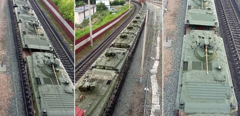 В России засняли эшелон с множеством БМП-1АМ «Басурманин»