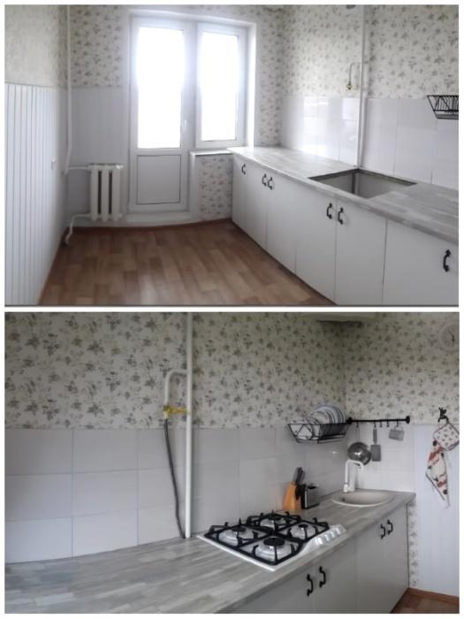Хрупкая девушка умудрилась сделать капремонт кухни 7 кв.м. всего за 40 тыс. руб.
