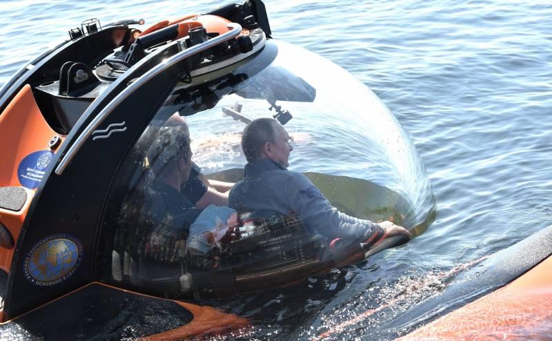 Опубликованы кадры погружения Путина к подводной лодке в Финском заливе