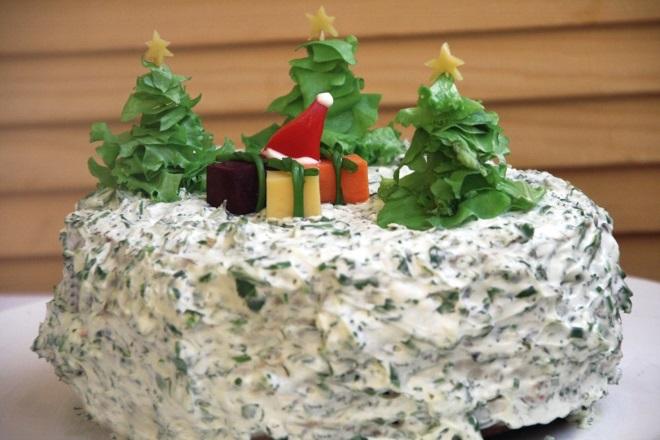 украшение салатов шпинатом на новый год