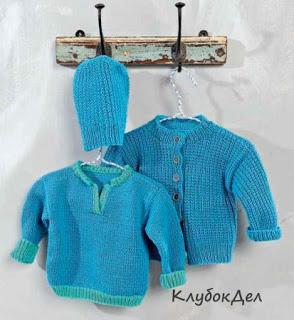 Пуловер, жакет и шапочка для новорожденного спицами
