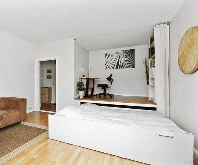 дизайн гостиной спальни подиум