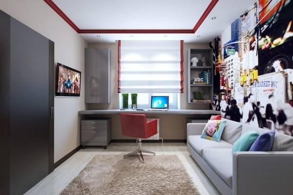 Компьютерный стол подоконник в детской - фото комнаты подростка