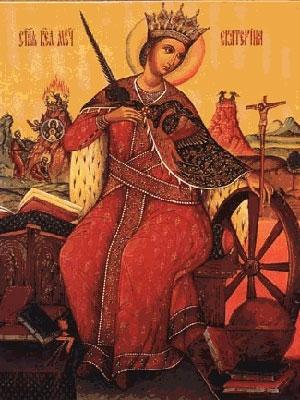 Изображение святой Екатерины с колесом