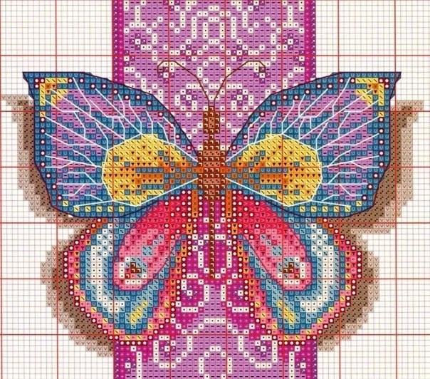 Воспоминание о лете. Бабочки, вышивка крестиком