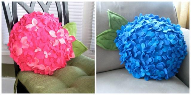 ПОДУШКА ГОРТЕНЗИЯ ИЗ ФЕТРА. М.К. С такими цветочными подушками из фетра прекрасное летнее настроение вам будет гарантировано!