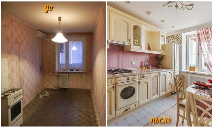 До и после: так изменился интерьер кухни после преобразования.