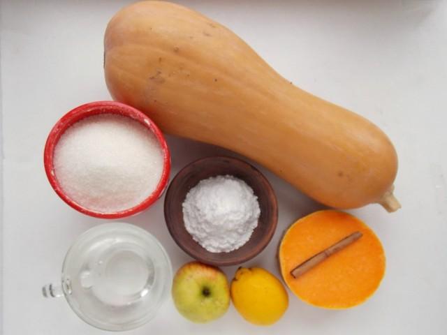 Ингредиенты для приготовления цукатов из тыквы