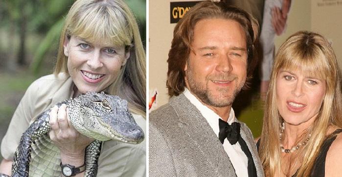 Терри Ирвин - вдова известного натуралиста, тележурналиста и телеведущего, «Охотника на крокодилов» Стива Ирвина./ Рассел Кроу и Терри Ирвин.
