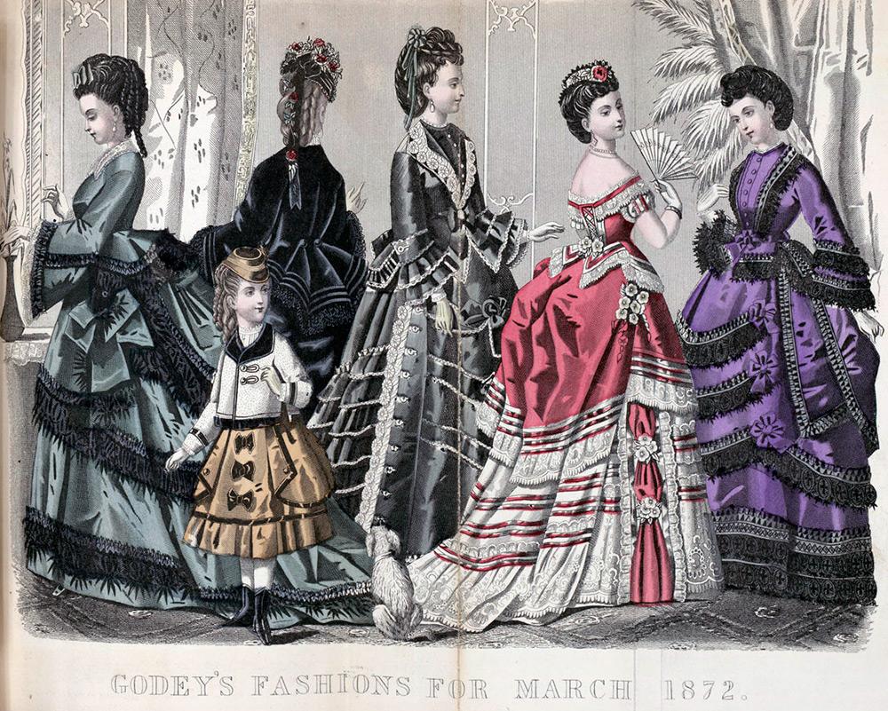 Платья 1870 годов – турнюрная мода