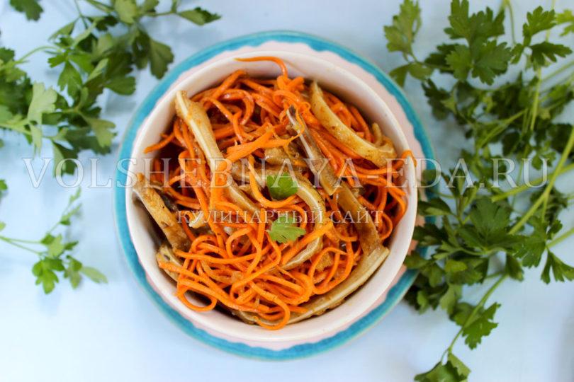 Салат свиные ушки с корейской морковкой